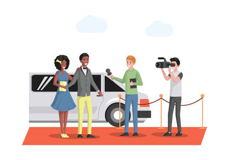 Famous couple in evening wears arriving at the red carpet on white limousine vector flat illustration.