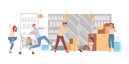 People panic in shop vector flat illustration. Frightened men and women crying, hiding, and running.