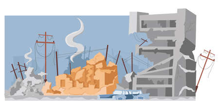 Destroyed city buildings after war or earthquake vector flat illustration. Abandoned and damaged broken constructions.
