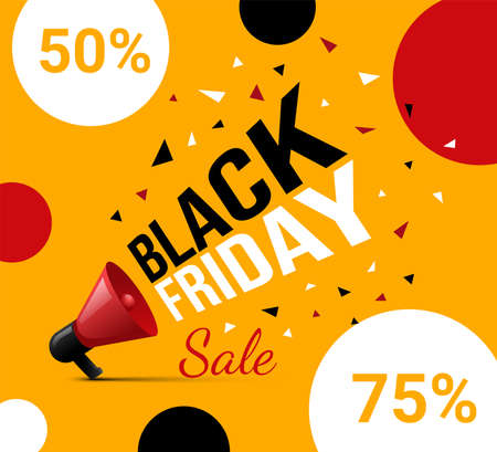Bright and colorful Black Friday advertisement flyer design with text. Red loudspeaker promotes seasonal sale. 矢量图像