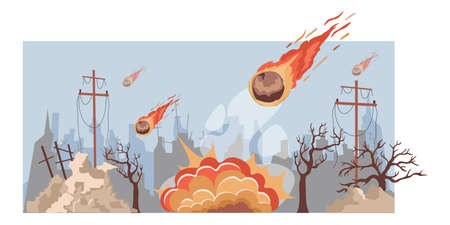 Large burning meteorites fall on the city vector flat illustration. Destroyed city buildings during natural disaster. 矢量图像