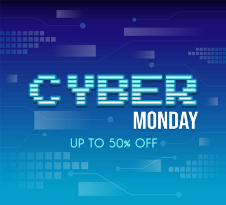 Cyber Monday tech vector poster design with text. Seasonal sale, up to 50 percent off advertisement offer.