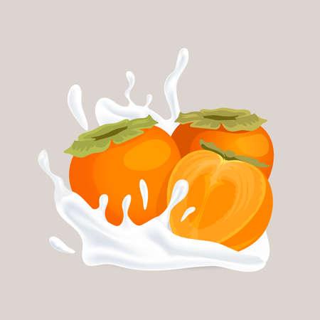 Fresh juicy whole and half sliced persimmon and splash of white liquid cartoon illustration.