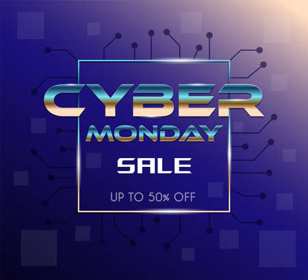 Cyber Monday sale advertisement banner design. Seasonal sale, special offer up to 50 percent marketing poster. 矢量图像