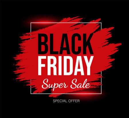 Black Friday marketing card template with text space. Red and black super sale promotional banner design. 矢量图像