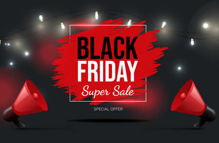 Black Friday vector banner design with text. Super seasonal sale poster neon concept, special offer. 矢量图像