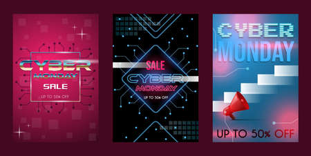 Set of three cyber Monday sale poster concept with text space. Discount banners, seasonal offer vector neon style. 矢量图像
