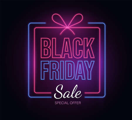 Modern neon Black Friday vector banner template with text. Special offer, seasonal sale advertisement poster design.