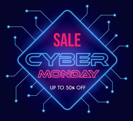 Cyber Monday modern tech vector poster design with text. Seasonal sale up to 50 percent off neon banner template. 矢量图像