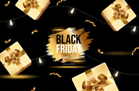 Black Friday bright banner design with golden gift boxes and lights. Super sale vector neon advertisement banner. 矢量图像