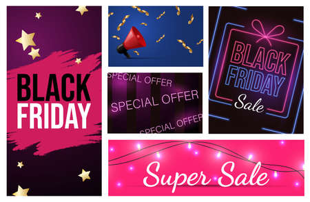 Set of different Black Friday advertising materials design. Special offer, seasonal sale vector neon banner concept.