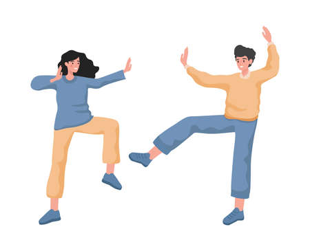 Happy smiling man and woman dancing, feeling positive emotions vector flat illustration.