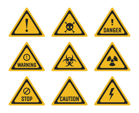 Set of prohibition and warning signs vector flat illustration. Danger, stop, and caution pictograms. 矢量图像