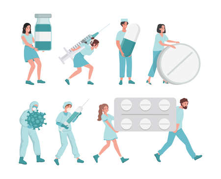Medical workers bring tablets in blister, syringes, pills and medical flasks vector flat illustration. 矢量图像