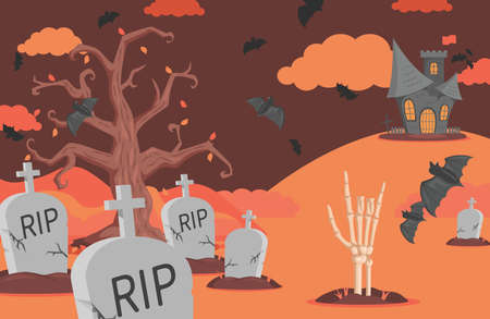 Halloween banner with gravestones, bats, scary castle, clouds, and skeleton hand vector flat cartoon illustration.