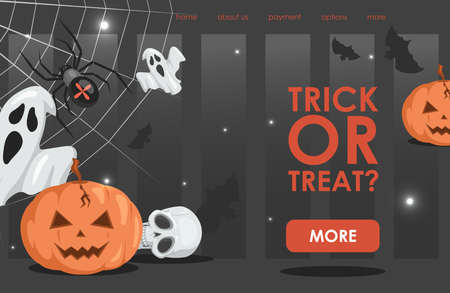 Trick or treat vector flat cartoon landing page template with text. Halloween event banner design.