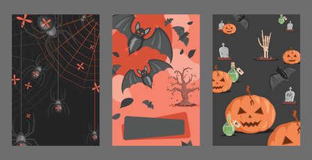 Halloween invitation cards design. Spiders on webs, bats, poisons, graves, pumpkins vector flat cartoon illustration.