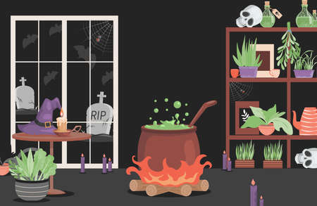 Interior of the house of evil witch vector flat cartoon illustration. Scary interior for Halloween party card design.