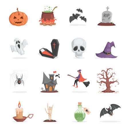 Set of Halloween party items. Scary and ugly pumpkin, pot with poison, bats, gravestone vector flat cartoon illustration. 矢量图像