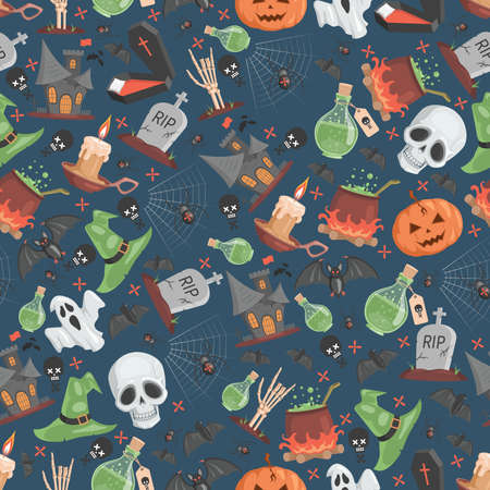 Halloween seamless pattern. Trick or treat Halloween party vector flat cartoon backdrop. 矢量图像