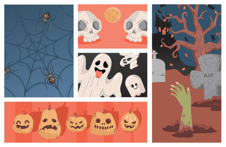 Set of Halloween party illustrations. Ugly scary pumpkin heads, ghosts, human skulls vector flat cartoon illustration.