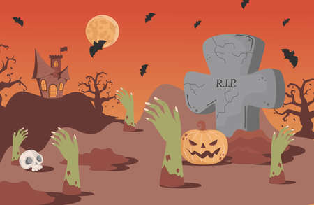 Halloween banner background with gravestones, bats, scary castle, and skeleton hand vector flat cartoon illustration.