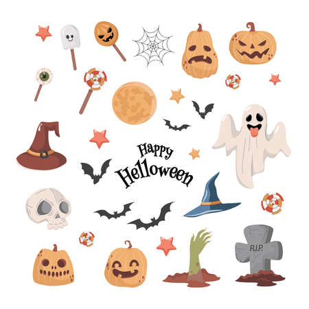 Halloween party vector flat cartoon illustration. Ghost, witch hat, bats, skull, zombie hand, and pumpkin heads