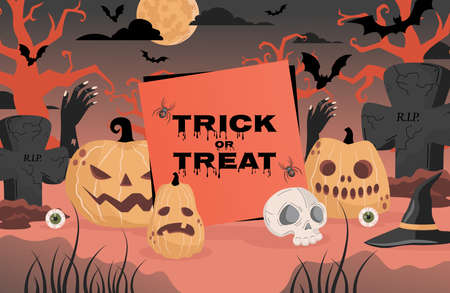 Trick or treat Halloween party poster design. Gravestones, witch hats, bats, and skull vector flat cartoon illustration.
