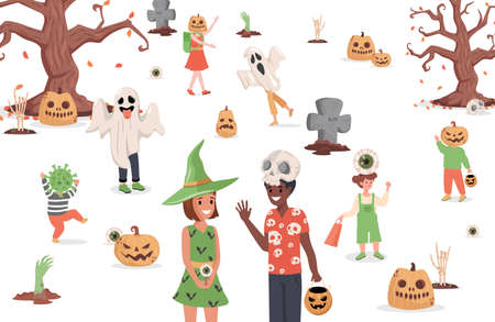 Children wearing monster costumes walking in the city vector flat illustration. Trick or treat Halloween party. 矢量图像