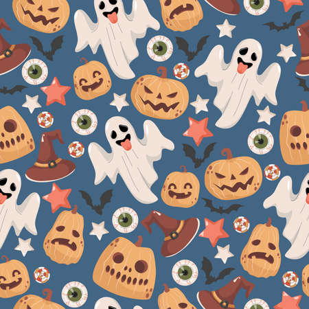 Halloween seamless pattern. Scary ghosts, witch hats, stars, bats, candies, human eyes, and pumpkins.