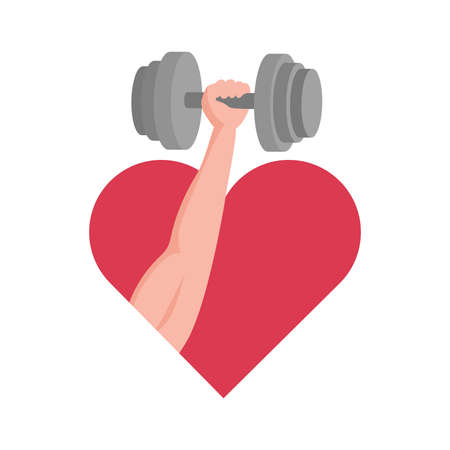 Hand with muscles holding dumbbell on the background of red heart vector flat illustration.