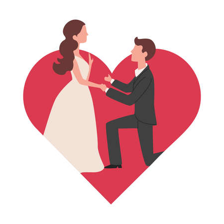 Man makes marriage proposal to his girlfriend vector flat illustration on the background of big red heart.