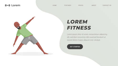 Fitness studio or online workout training landing page template. Man stretching and doing sport exercises.