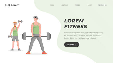 Online workout training or fitness studio website template with text space. Men lifting dumbbells and barbells.