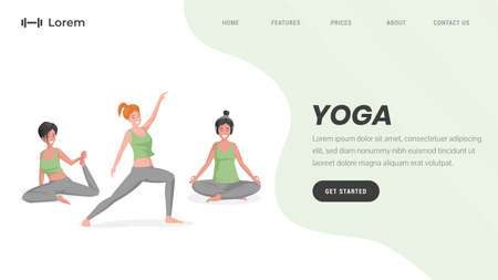 Yoga studio or online pilates landing page template with text space. Women stretching vector flat illustration.