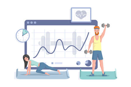 Happy smiling man and woman doing sport exercises on the background of rising graph vector flat illustration. 矢量图像