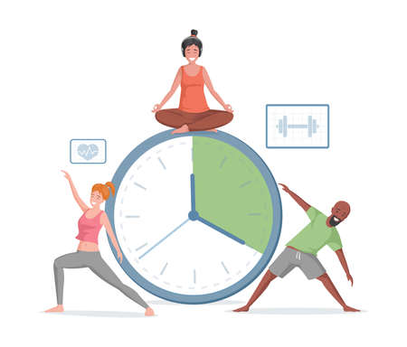 Smiling man and women doing sport exercises and yoga on the background of timer vector flat illustration. Иллюстрация