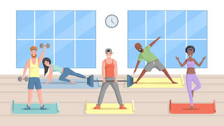 Smiling men and women in sports clothes doing workout in fitness studio vector flat illustration.