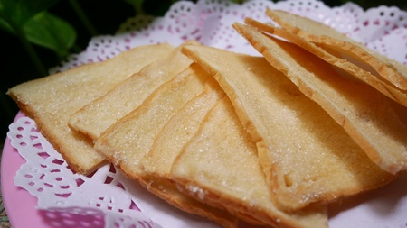 Crispy bread butter with sugar Stockfoto