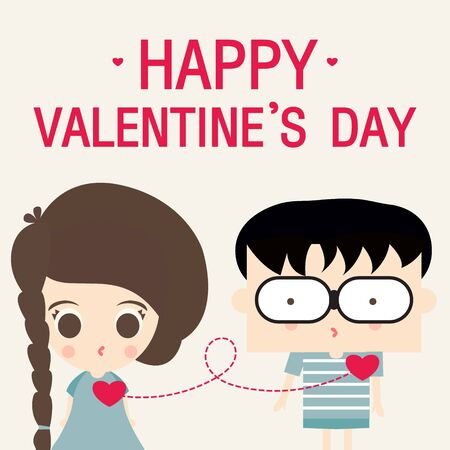link love: happy valentines day love link cartoon vector Illustration