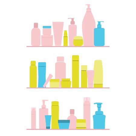 kunststoff rohr: eingestellt von kosmetischen Flaschen auf Regal