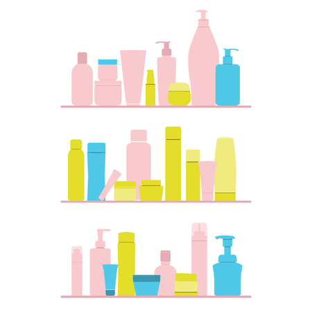 shampoo bottle: set of cosmetic bottles on shelf