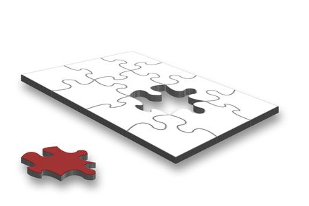Unfinished 3D jigsaw last piece different in colour  Stock Photo - 2548513