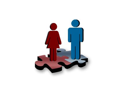 Man and woman problem solving together Stock Photo - 2548511