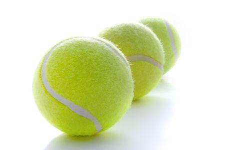 Tennis balls on a white background Stock Photo