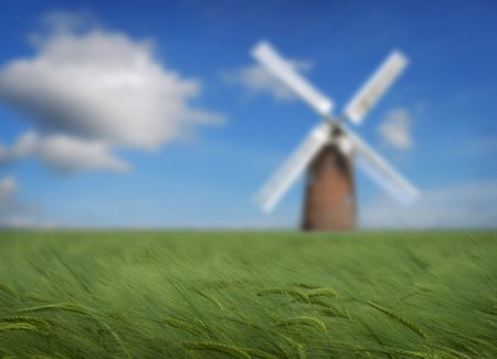 energies: Crops with windmill in the distance, energy conservation theme