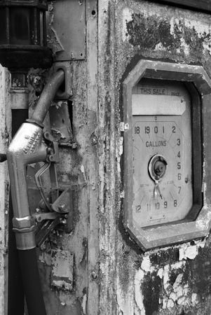 Black and white shot of an abandoned fuel pump Stock Photo - 3394004