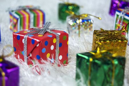 A selection of wrapped up presents for Christmas photo