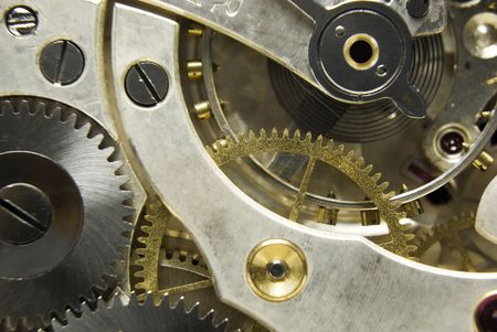 jeweled: An extreme close up shot of the workings of a jeweled pocket watch Stock Photo