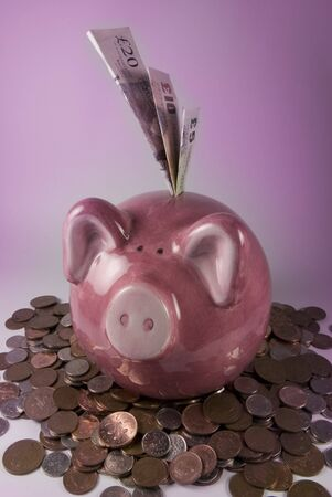 dosh: Pink piggy bank surrounded with money